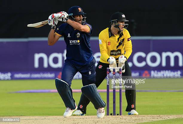 Ravi Bopara of Essex hits out as Gareth Roderick of Gloucestershire looks on during the NatWest T20 Blast match between Essex and Gloucestershire at...