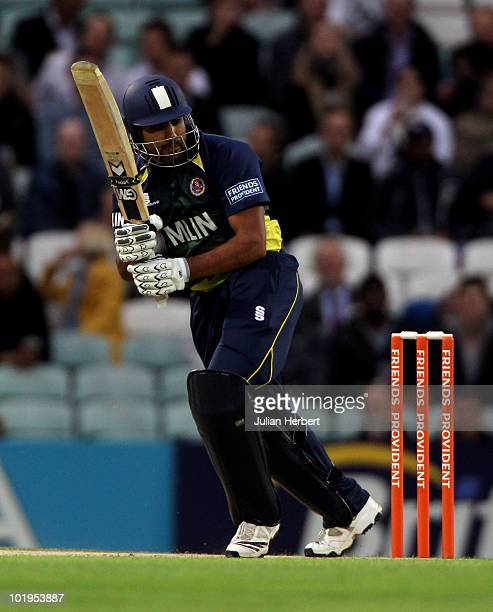 Ravi Bopara of Essex hits out during The Friends Provident T20 match between Surrey Lions and Essex Eagles at The Brit Oval on June 10, 2010 in...