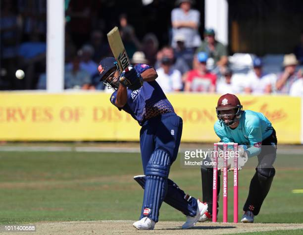 Ravi Bopara of Essex hits the ball for six runs during the Vitality Blast T20 match between Essex Eagles and Surrey at The Cloud FM Cricket Ground on...
