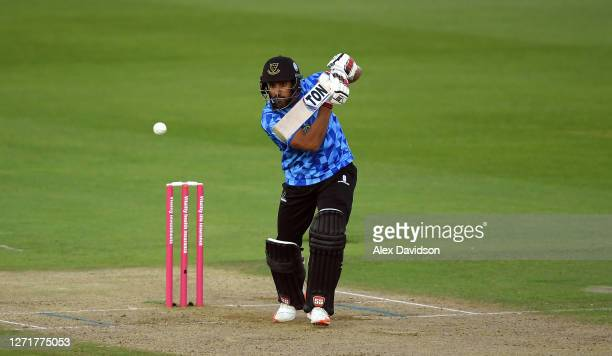 Ravi Bopara of Sussex hits runs during the Vitality Blast match between Hampshire and Sussex Sharks at The Ageas Bowl on September 10, 2020 in...