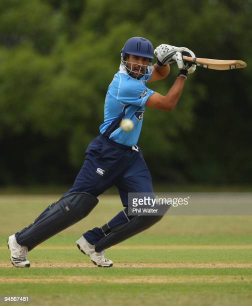 Ravi Bopara of the Auckland Aces bats during the one day match between the Auckland Aces and the Otago Stags at Colin Maiden Park on December 17,...