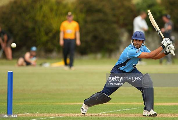 Ravi Bopara of the Auckland Aces bats during the One Day match between the Auckland Aces and the Wellington Firebirds at Colin Maiden Park on...