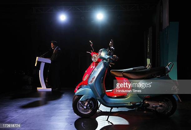 Ravi Chopra Chairman and Managing Director of Piaggio Vehicles Pvt Ltd during the launch of new model of Vespa VX 125 scooter on July 4 2013 in New...