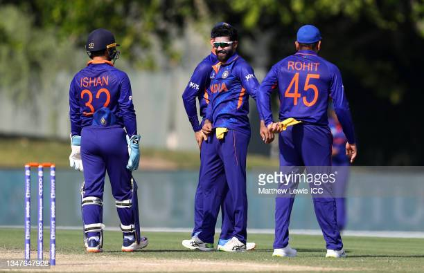 Ravi Jadeja of India celebrates the wicket of Aaron Finch of Australia during the India and Australia warm Up Match prior to the ICC Men's T20 World...