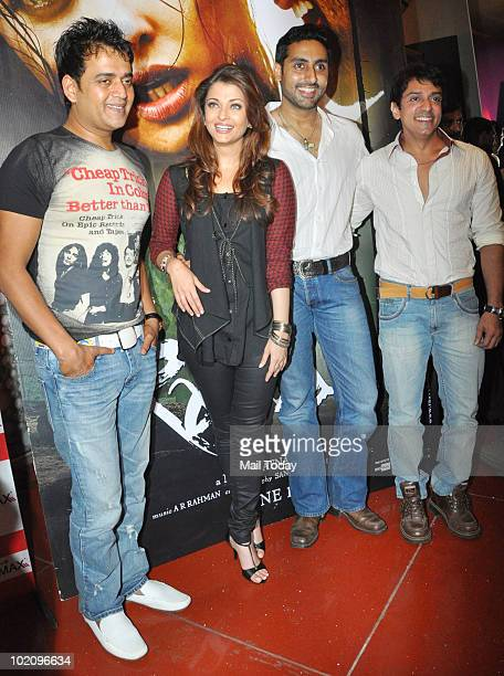 Ravi Kissen Aishwarya Rai Bachchan and Abhishek Bachchan at a promotional event for the film Raavan in Mumbai on June 12 2010