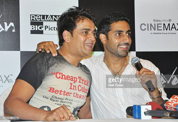 Ravi Kissen and Abhishek Bachchan at a promotional event for the film Raavan in Mumbai on June 12 2010