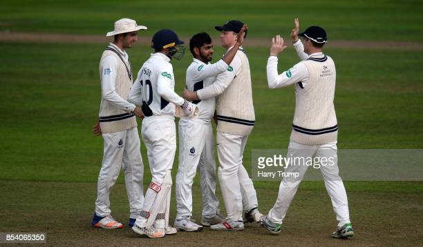 Ravi Patel of Middlesex celebrates after dismissing George Bartlett of Somerset during Day Two of the Specsavers County Championship Division One...