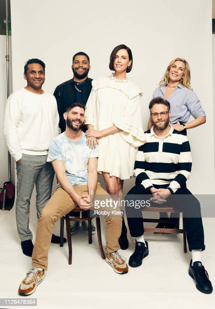 Ravi Patel O'Shea Jackson Charlize Theron June Diane Raphael Jonathan Levine and Seth Rogen of the film 'Long Shot' pose for a portrait at the 2019...
