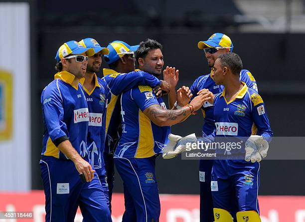 Ravi Rampaul of Barbados Tridents celebrate with his teammates during a match between Jamaica Tallawahs and Barbados Tridents as part of week 4 of...