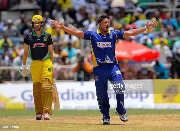 Ravi Rampaul of Barbados Tridents celebrates dismissing Adam Voges of Jamaica Tallawahs lbw during a match between Jamaica Tallawahs and Barbados...