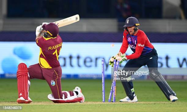 Ravi Rampaul of West Indies is bowled by Adil Rashid of England during the ICC Men's T20 World Cup match between England and Windies at Dubai...