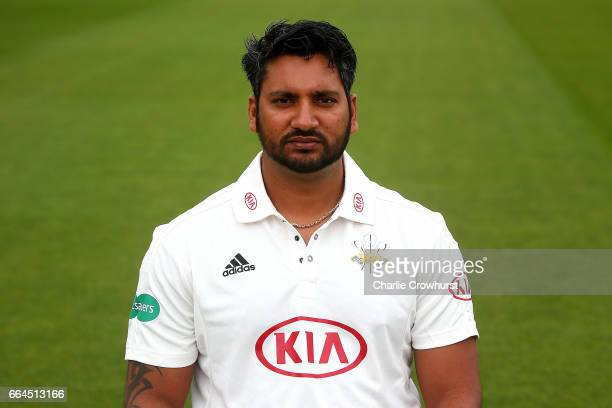 Ravi Rampaul poses in the Specsavers County Championship kit during the Surrey CCC Photocall at The Kia Oval on April 4 2017 in London England