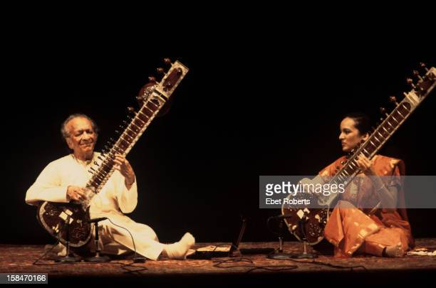 Ravi Shankar and his daughter Anoushka Shankar perform on stage at Carnegie Hall in New York on November 18 2001