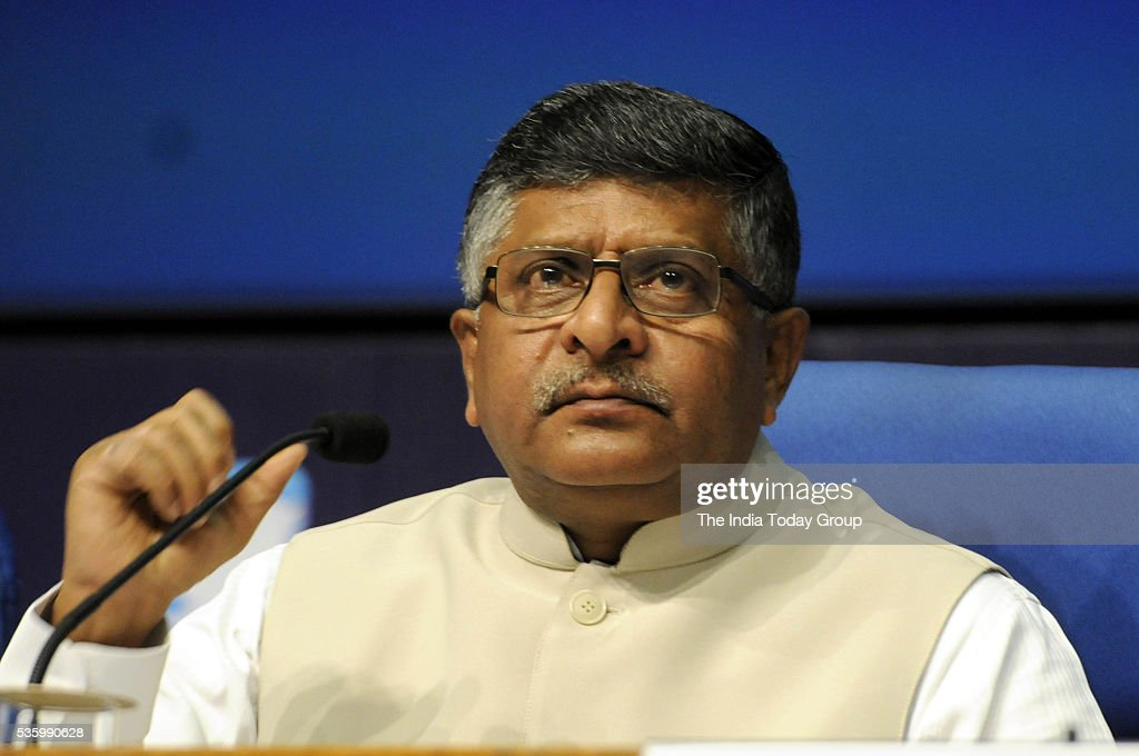 Ravi Shankar Prasad addressing a press conference on the achievements of the Ministry of C&IT during the two years of NDA Government in New Delhi.