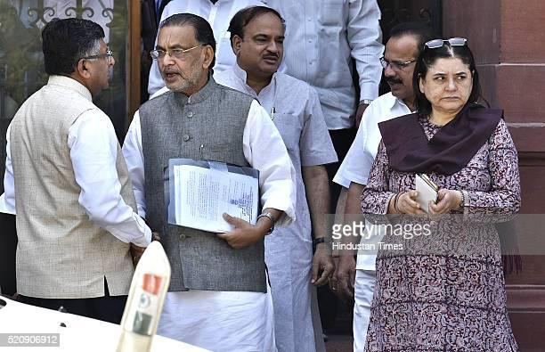 Ravi Shankar Prasad Radha Mohan Singh Maneka Gandhi Ananth Kumar Sadananda Gowda coming out after attending the Cabinet Meeting at PM Office South...