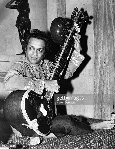 Ravi Shankar the Indian musician during a visit to London to perform in two concerts at the Royal Festival Hall He is to give a recital with the...