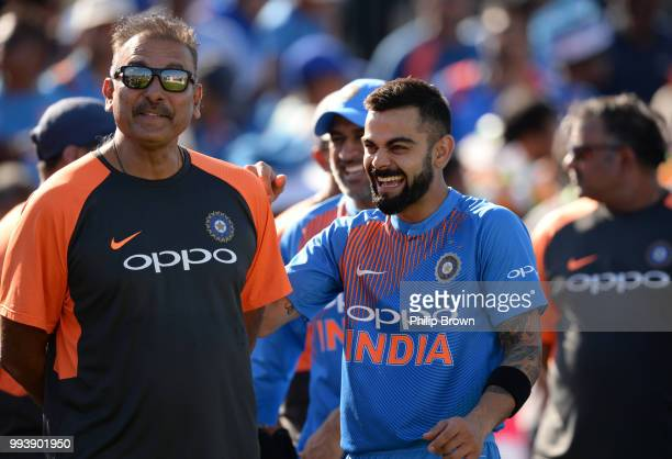 Ravi Shastri and Virat Kohli of India after the 3rd Vitality International T20 between England and India on July 8 2018 in Bristol England