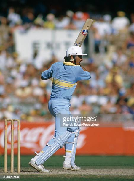 Ravi Shastri batting for India during his innings of 51 in the Benson and Hedges World Championship of Cricket match between Australia and India at...
