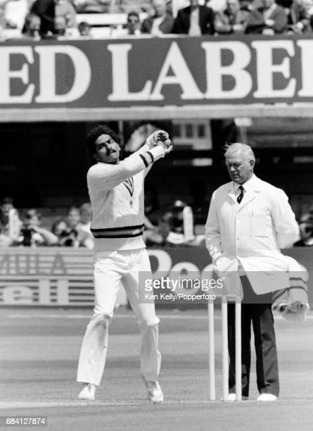 Ravi Shastri bowling for India during the 1st Test match between England and India at Lord's Cricket Ground London 5th June 1986 The umpire is Ken...