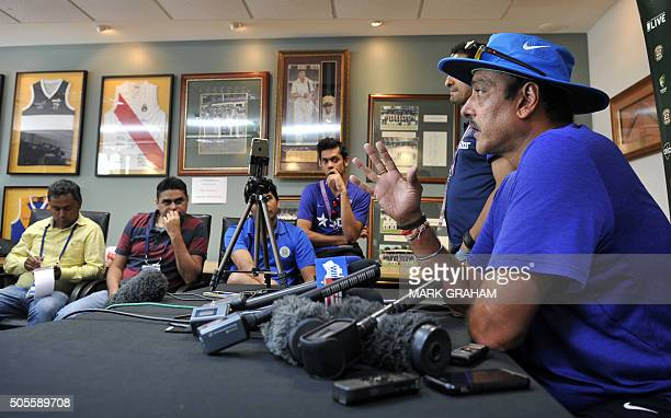 Ravi Shastri coach of the Indian cricket team speaks during a press conference at the Manuka Oval in Canberra on January 19 2016 ahead of the fourth...