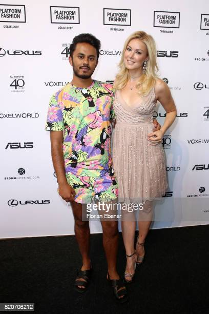 Ravi Walia and Nina Ensmann attends the 3D Fashion Presented By Lexus/Voxelworld show during Platform Fashion July 2017 at Areal Boehler on July 22...