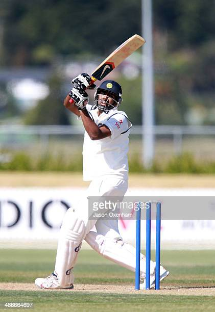 Ravichandran Ashwin hooks for six during day two of the international tour match between the New Zealand XI and India at Cobham Oval on February 3...