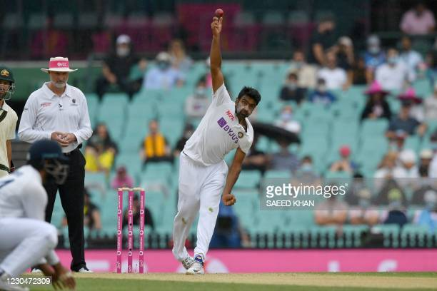 Ravichandran Ashwin of India bowls on day two of the third cricket Test match at Sydney Cricket Ground between Australia and India on January 8,...