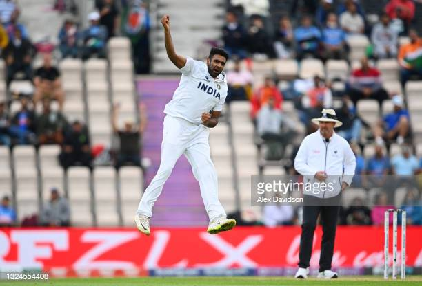 Ravichandran Ashwin of India celebrates taking the wicket of Tom Latham of New Zealand during Day 3 of the ICC World Test Championship Final between...
