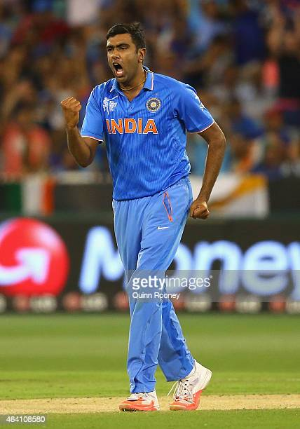 Ravichandran Ashwin of India celebrates the wicket of Vernon Philander of South Africa during the 2015 ICC Cricket World Cup match between South...