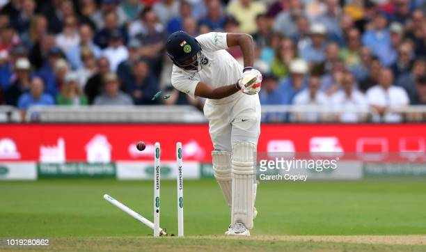 Ravichandran Ashwin of India is bowled by Stuart Broad of England during day two of the Specsavers 3rd Test match between England and India at Trent...