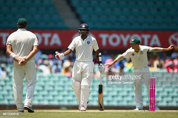 Ravichandran Ashwin of India talks to Australian players during day four of the Fourth Test match between Australia and India at Sydney Cricket...