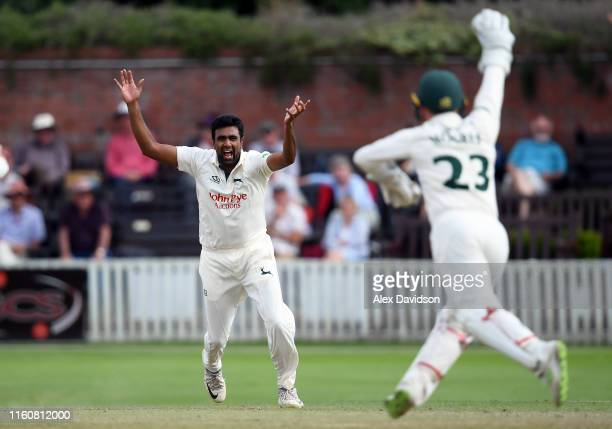 Ravichandran Ashwin of Nottinghamshire appeals unsuccessfully for the wicket of Azhar Ali of Somerset during Day Two of the Specsavers County...