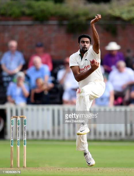 Ravichandran Ashwin of Nottinghamshire bowls during Day One of the Specsavers County Championship Division One match between Somerset and...