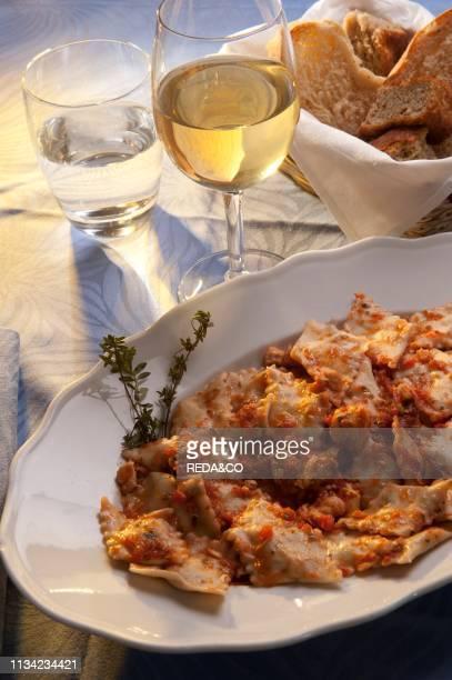 Fish ravioli from La Cucina di Nonna Nina. San Rocco di Camogli. Ligury. Italy. Europe.