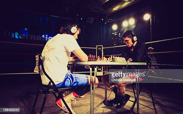 Ravil Galiakhmetov and Jose Sanchez in the ring during the Chessboxing 2012 Season Finale at Scala on December 8 2012 in London England