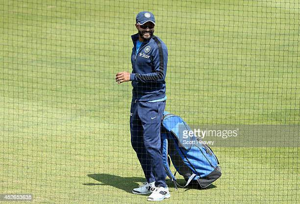 Ravindra Jadeja during an India nets session at Ageas Bowl on July 25 2014 in Southampton England