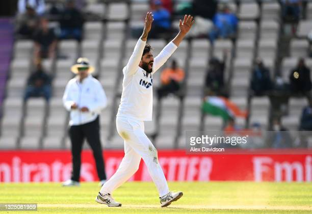 Ravindra Jadeja of India appeals unsuccessfully during the Reserve Day of the ICC World Test Championship Final between India and New Zealand at The...