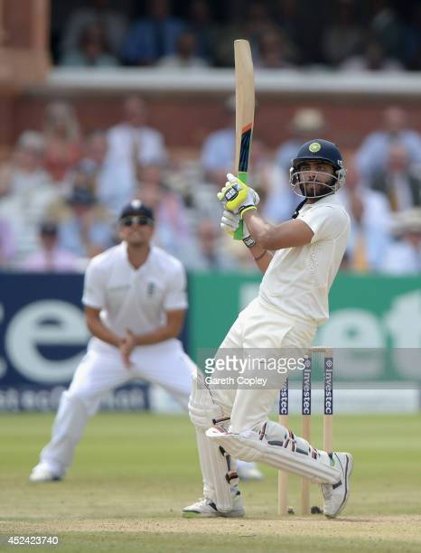Ravindra Jadeja of India bats during day four of 2nd Investec Test match between England and India at Lord's Cricket Ground on July 20 2014 in London...