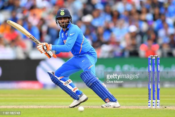 Ravindra Jadeja of India bats during resumption of the SemiFinal match of the ICC Cricket World Cup 2019 between India and New Zealand after weather...