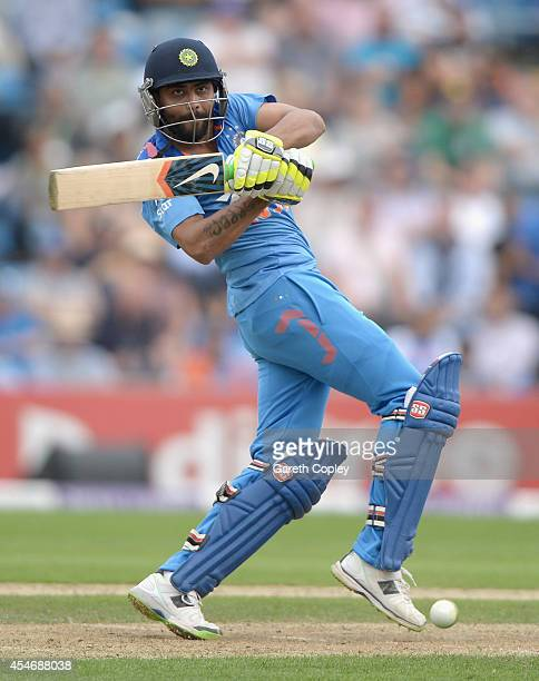 Ravindra Jadeja of India bats during the 5th Royal London One Day International between England and India at Headingley on September 5 2014 in Leeds...
