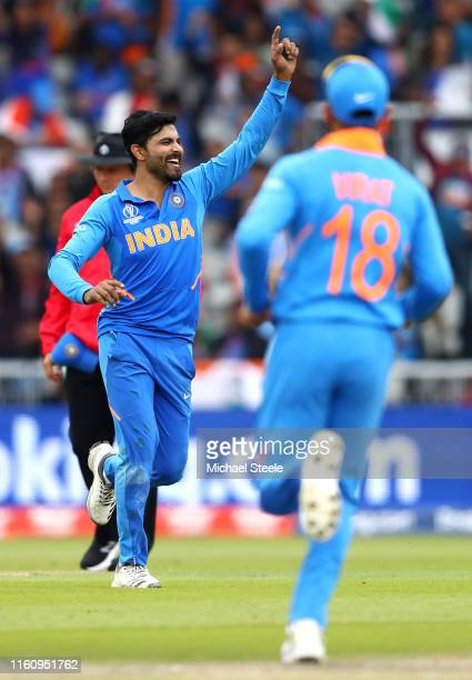Ravindra Jadeja of India celebrates bowling Henry Nicholls of New Zealand during the SemiFinal match of the ICC Cricket World Cup 2019 between India...