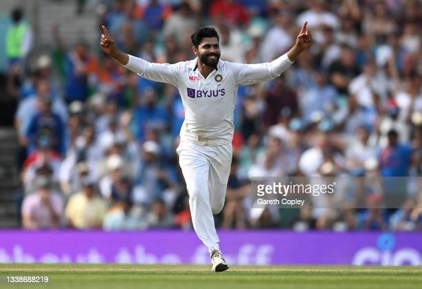 Ravindra Jadeja of India celebrates dismissing Moeen Ali of England during day five of the Fourth LV= Insurance Test Match between England and India...