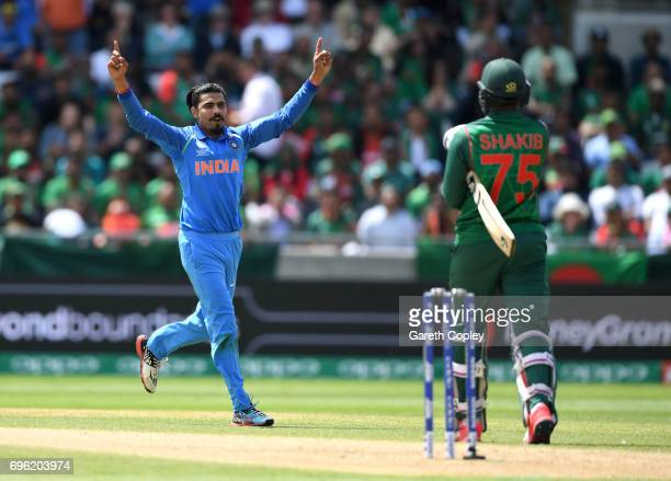Ravindra Jadeja of India celebrates dismissing Shakib Al Hasan of Bangladesh during the ICC Champions Trophy Semi Final between Bangladesh and India...