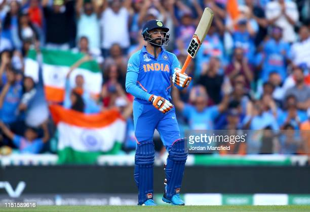 Ravindra Jadeja of India celebrates his 50 during the ICC Cricket World Cup 2019 Warm Up match between India and New Zealand at The Kia Oval on May...