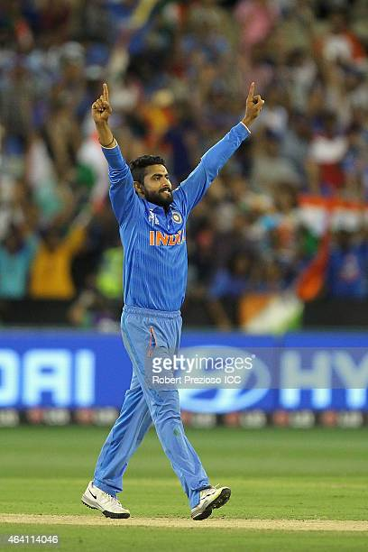 Ravindra Jadeja of India celebrates taking the last wicket of Imran Tahir of South Africa to win during the 2015 ICC Cricket World Cup match between...