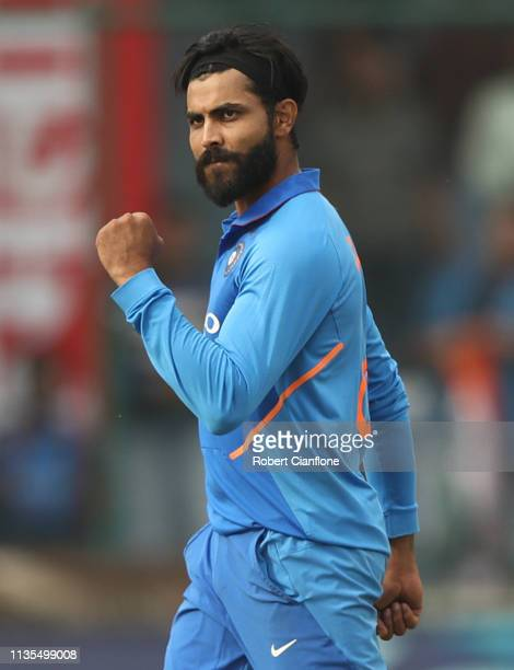 Ravindra Jadeja of India celebrates taking the wicket of Glenn Maxwell of Australia during game five of the One Day International series between...