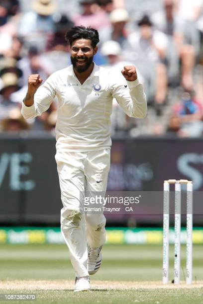Ravindra Jadeja of India celebrates taking the wicket of Mitchell Marsh of Australia during day three of the Third Test match in the series between...