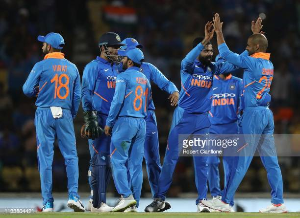Ravindra Jadeja of India celebrates taking the wicket of Shaun Marsh of Australia of India during game two of the One Day International series...