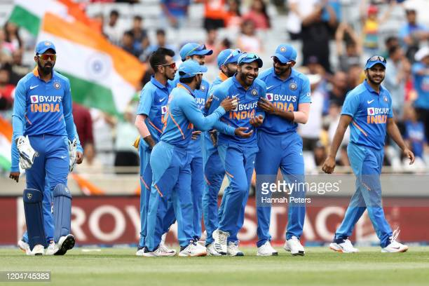 Ravindra Jadeja of India celebrates the wicket of Jimmy Neesham of the Black Caps during game two of the One Day International Series between New...
