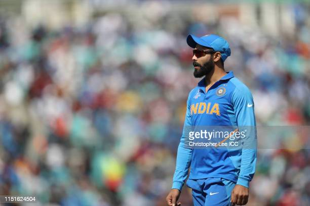 Ravindra Jadeja of India during the ICC Cricket World Cup 2019 Warm Up match between India and New Zealand at The Kia Oval on May 25 2019 in London...